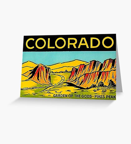 Colorado Garden of the Gods Vintage Travel Decal Greeting Card