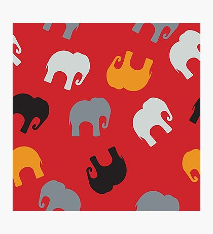 Seamless pattern with colorful elephants for textile, book cover, packaging. Photographic Print