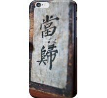 "Traditional Korean herbal medicine chest with ""Chinese Angelica"" on the drawer iPhone Case/Skin"