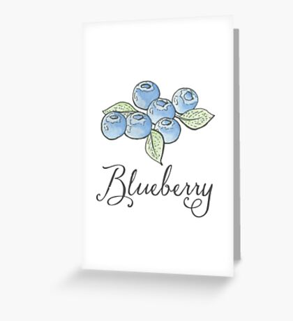 Blueberry Watercolor Fruit Greeting Card