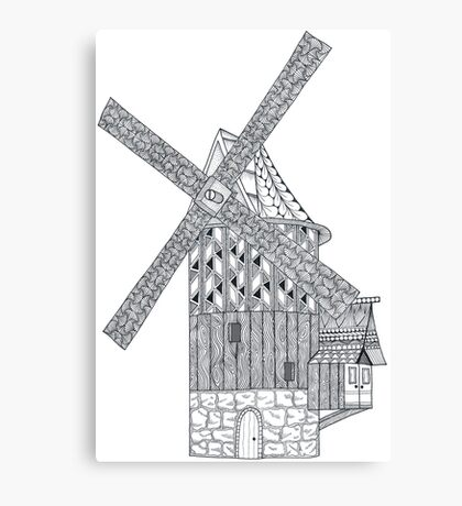 Windmill - black and white Canvas Print