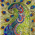 Proud Peacock in Ink and color pencil by Alma Lee