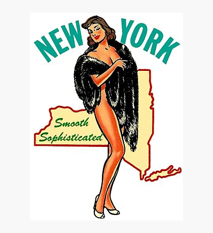 New York State Pinup Vintage Travel Decal Photographic Print