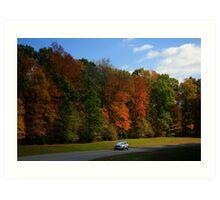 New GMC Arcadia SUV Driving through the fall foliage  on the Natchez Trace Nashville Art Print