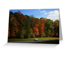 New GMC Arcadia SUV Driving through the fall foliage  on the Natchez Trace Nashville Greeting Card
