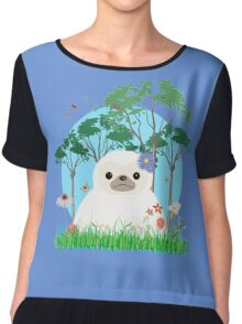 Super Cute White Sloth Chiffon Top