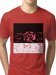 Abstract rose. black and white red . r Tri-blend T-Shirt
