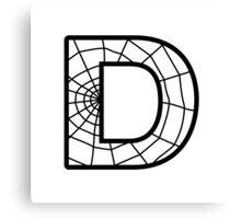 Spiderman D letter Canvas Print
