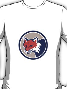 Red Fox Head Angry Circle Retro T-Shirt