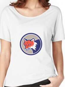 Red Fox Head Angry Circle Retro Women's Relaxed Fit T-Shirt