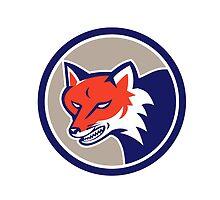 Red Fox Head Angry Circle Retro by patrimonio