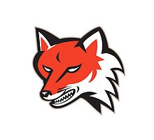 Red Fox Angry Head Retro by patrimonio