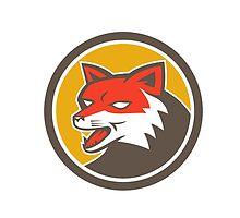 Red Fox Head Growling Circle Retro by patrimonio