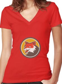 Red Fox Head Growling Circle Retro Women's Fitted V-Neck T-Shirt