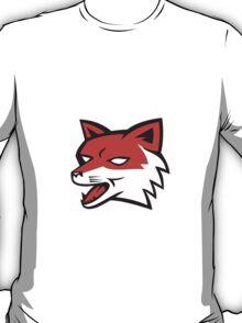 Red Fox Head Growling Retro T-Shirt