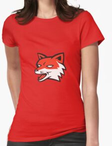 Red Fox Head Growling Retro Womens Fitted T-Shirt