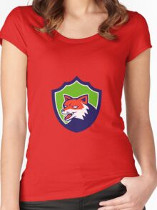 Red Fox Head Growling Shield Retro Women's Fitted Scoop T-Shirt