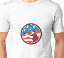 Policeman With Gun American Flag Circle Retro Unisex T-Shirt