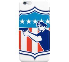 Policeman With Gun American Flag Shield Retro iPhone Case/Skin