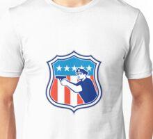 Policeman With Gun American Flag Shield Retro Unisex T-Shirt