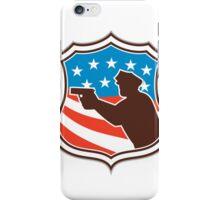 Policeman Silhouette Pointing Gun Flag Shield Retro iPhone Case/Skin