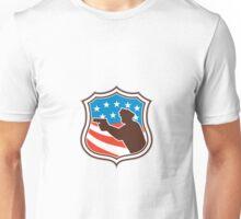 Policeman Silhouette Pointing Gun Flag Shield Retro Unisex T-Shirt