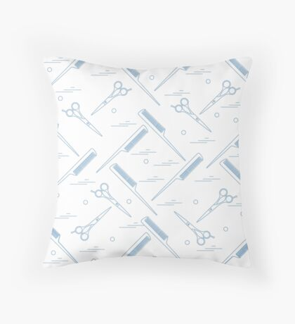 Cute pattern of scissors for cutting hair and combs.  Throw Pillow