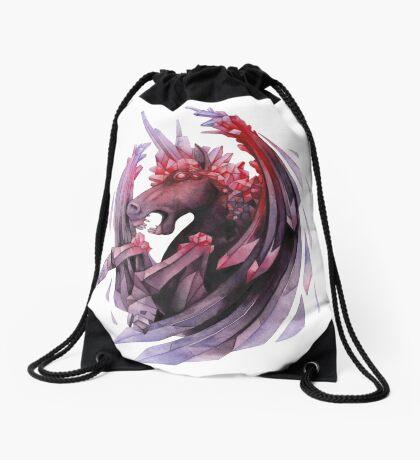 Watercolor crystallizing demonic horse Drawstring Bag