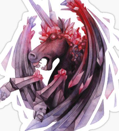 Watercolor crystallizing demonic horse Sticker