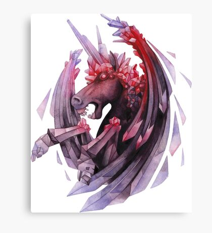 Watercolor crystallizing demonic horse Canvas Print