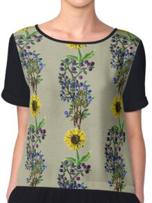 Flowers and leaves pattern Chiffon Top