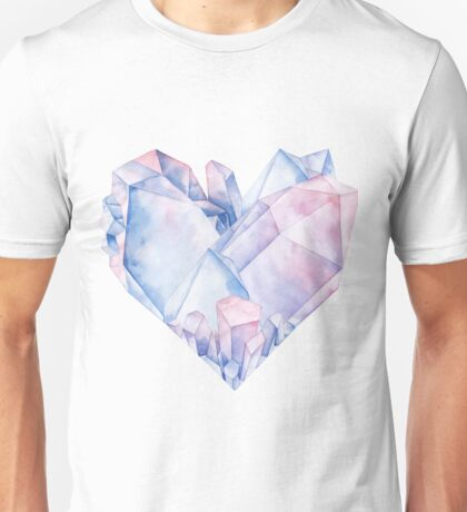 Watercolor crystals in the shape of heart. Unisex T-Shirt
