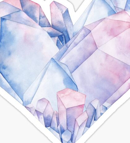 Watercolor crystals in the shape of heart. Sticker