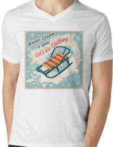 Winter Season. Lets Go Sledding Retro Poster Mens V-Neck T-Shirt