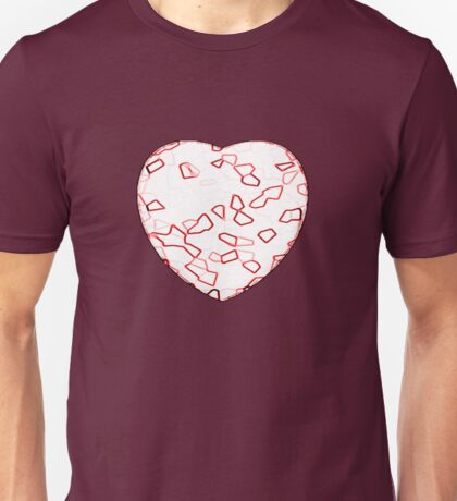 Stylised Red & White Heart T-Shirt