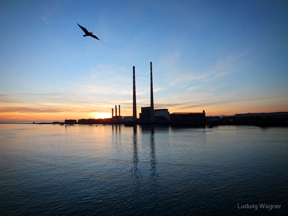 Factory in Dublin Harbour by Ludwig Wagner