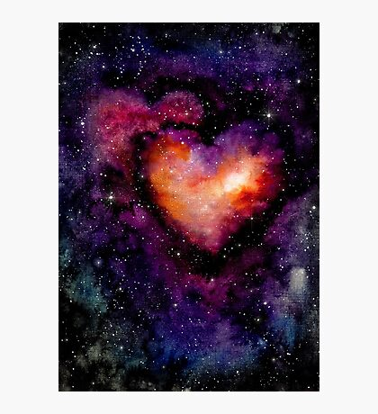 Watercolor Hearts Nebula and Deep Space Photographic Print