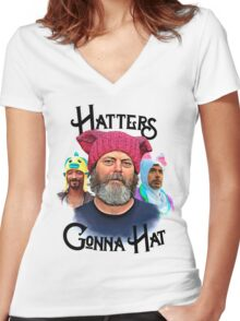Hatters Gonna Hat Women's Fitted V-Neck T-Shirt