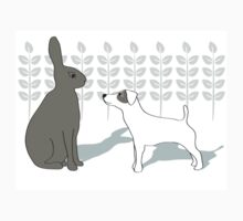 Jack Russell and Hare One Piece - Short Sleeve