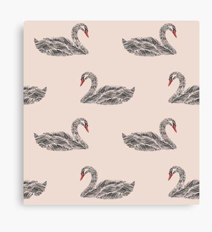 Seamless pattern of swans.  Bird pattern. Canvas Print