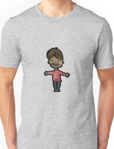 cartoon grimacing boy Unisex T-Shirt