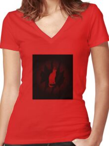 Red Cat Women's Fitted V-Neck T-Shirt