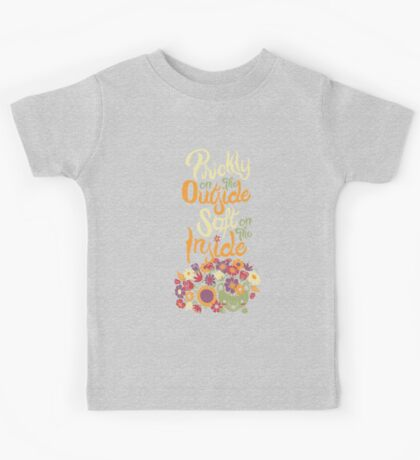 Prickly On The Outside Soft On The Inside Hedgehog Flower Kids Tee