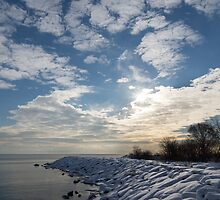 Brilliant Sunshine After the Snowstorm – a Winter Beach on Lake Ontario by Georgia Mizuleva
