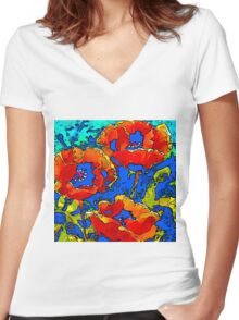 Poppies red on blue Women's Fitted V-Neck T-Shirt