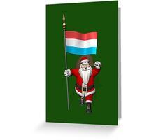 Santa Claus With Ensign Of Luxembourg Greeting Card
