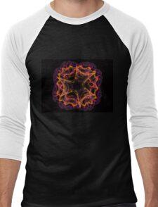 Fractal like a flower on black background Men's Baseball ¾ T-Shirt
