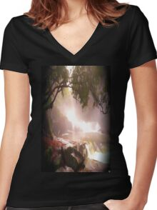 landscape waterfall lake river Women's Fitted V-Neck T-Shirt