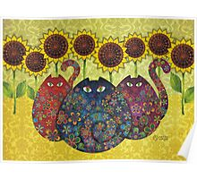 Cats With Sunflowers Poster