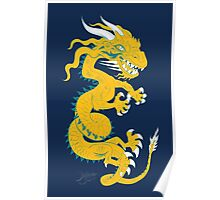 Golden Dragon with Turquoise Style Poster